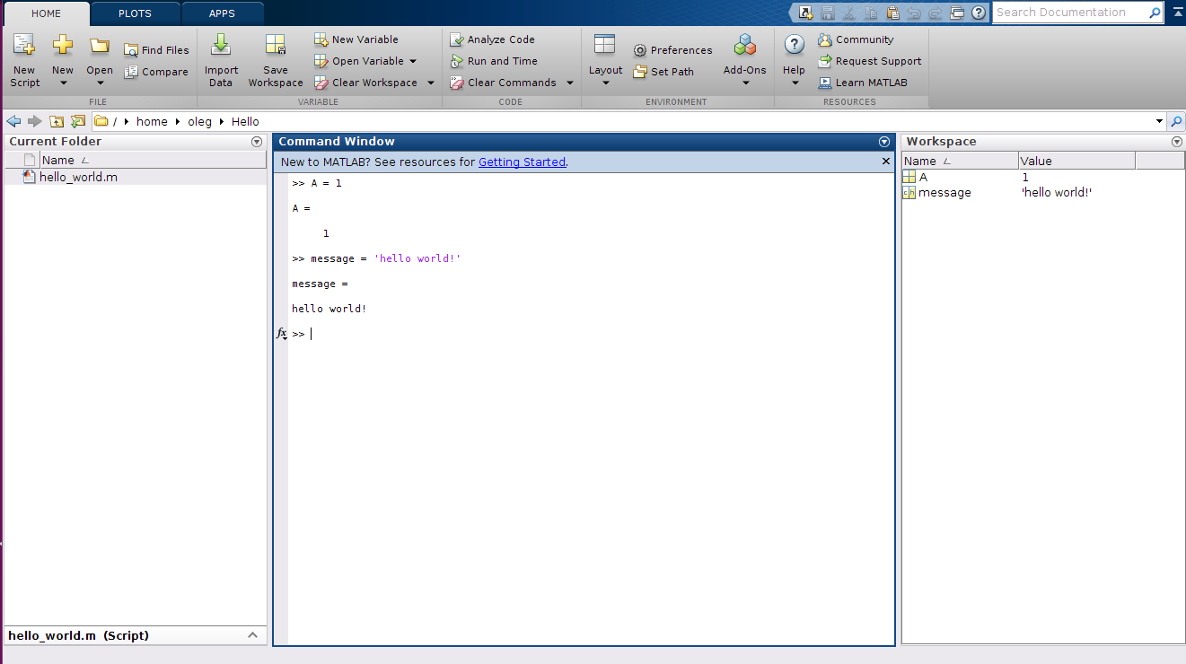 Matlab Workspace example.